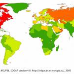 World CO2 emissions per capita.  Photo credits: http://edgar.jrc.ec.europa.eu/index.php
