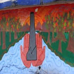 Mural pintado por los niños de La Oroya sobre cómo sueñan su ciudad: niños sosteniendo chimeneas sin humos, las aguas limpias del río Mantaro, los árboles creciendo de nuevo, y el sol brillando en un nuevo día. Foto de: F. Serrano