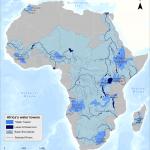 Torres de agua de África, que ilustran la interconexión de sistemas de agua superficiales en la escala de las cuencas principales en el continente africano y su contribución a la necesidad de la gente para los recursos hídricos más allá de las fronteras políticas. Foto de: Africa Water Atlas, UNEP, 2010