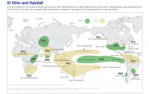 Map 1, El Niño and rainfall. Photo credits: International Research Institute for Climate and Society, Earth Institute, Columbia University