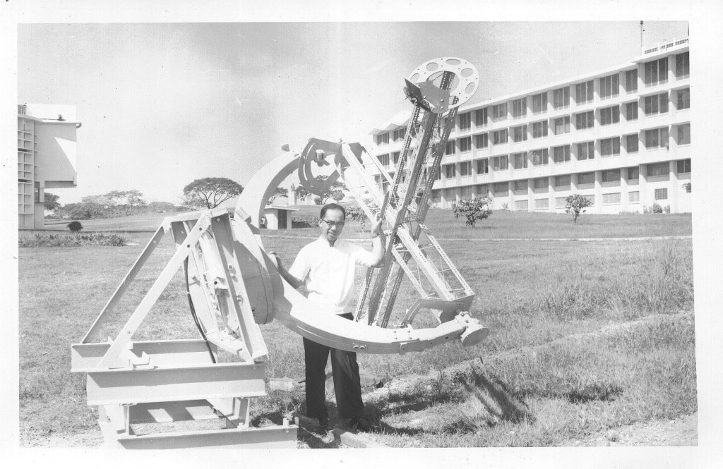 A young Father Victor Badillo, preparing for celestial observations. Photo credit: Manila Observatory Archives