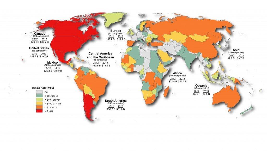 Distribución geográfica de los activos mineros canadienses en 2013. Foto de: Natural Resources Canada