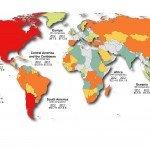 Répartition géographique des avoirs miniers canadiens en 2013.  Crédit photo:Ressources naturelles Canada