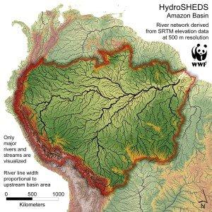 Red fluvial detallada de la cuenca Amazonas. Foto de: Programa de la Ciencias para la Conservación de WWF