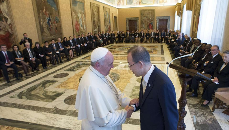 UN Secretary-General Ban Ki-moon meets with Pope Francis at the Vatican with other global leaders in faith and science communities. Photo credit: Osservatore Romano/Reuters
