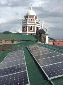 Solar panels were installed early this month on the roof of Our Lady of Angels parish church in Atimonan, Quezon in eastern Luzon, Philippines. Photo Credit: Caritas-Philippinesd