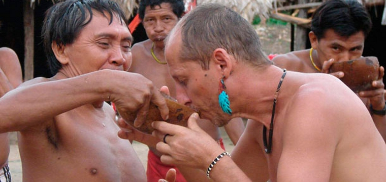 Yanomami give a friendly welcome to Fernando López, SJ, the author of this article. Photo credit: magisradio.blogspot.com