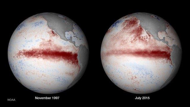 Selon la dernière analyse globale de la National Oceanic and Atmospheric Administration (NOAA) (http://www.ncdc.noaa.gov/sotc/global/201506), la période de Janvier à Juin 2015 a été «la plus chaude à sur toutes les étendues terrestres et océaniques du monde, dépassant de 0,85°C la moyenne du 20ème siècle, battant le précédent record établi en 2010, la dernière année avec des conditions El Niño.  «Le El Niño en cours, tel qu'illustré sur l'image, à droite, a de fortes chances (80%) de persister jusqu'à l'an prochain.  Le phénomène El Niño de 1997-1998 apparaît à gauche. Crédit photo: futuretimeline.net