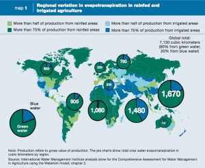 """Durante el Foro Económico Mundial en septiembre de 2015, se reconoció que el SDG6 """"requerirá el cumplimiento de conseguir el equilibrio adecuado entre el agua azul, conocido como 'drenada' - el agua en los ríos y las profundidades de los acuíferos, que tienen miles de años para reponer; y verde agua - el agua de lluvia que cae en la tierra y en los suelos. En muchos lugares, el agua verde es un suministro de agua sin gestionar, pero con los incentivos adecuados este agua podría procesarse de manera más eficaz."""""""