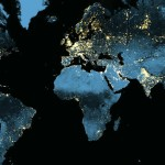 A view of the Earth at night as seen from space, revealing city lights, gas flares, wildfires and other nighttime lights. Image was captured in April and October 2012 by a sensor aboard NOAA's Suomi National Polar-orbiting Partnership Satellite. Photo credit:blog.education.nationalgeographic.com.