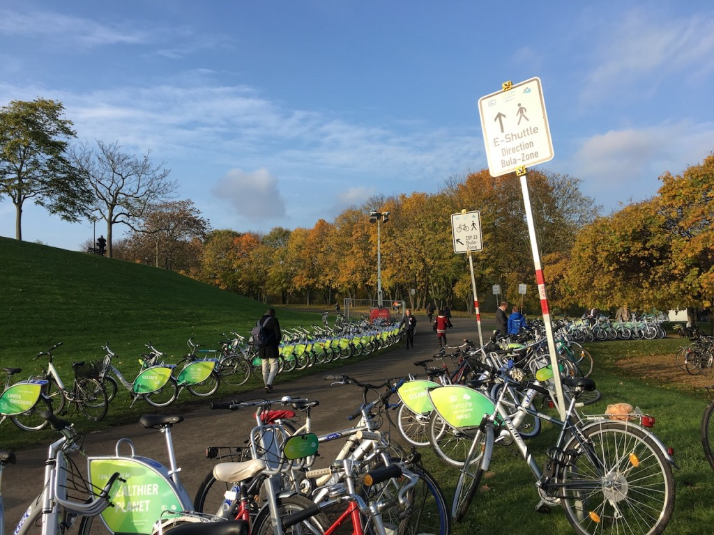 Bikes to go to and from the Bula and Bonn zones in the COP23 venue in Bonn. Photo credit: S. Miclat