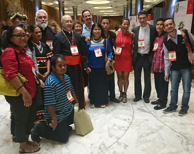Indigenous and traditional community members from Asia Pacific, Oceania, and Amazonia with Cardinal Barreto Jimeno (also Archbishop of Huancayo in Peru) with Ecojesuit and REPAM partners, during the International Conference on the 3rd Anniversary of Laudato Si' at the Vatican, 5-6 July 2018