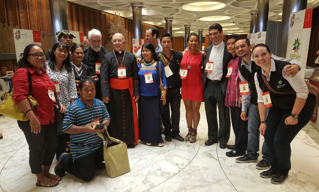 Participants from indigenous and traditional communities in Asia Pacific and Oceania with Cardinal Barreto Jimeno (also Archbishop of Huancayo in Peru) with Ecojesuit and REPAM partners, during the International Conference on the 3rd Anniversary of Laudato Si' at the Vatican, 5-6 July 2018. Photo credit: D Annawi/Ecojesuit