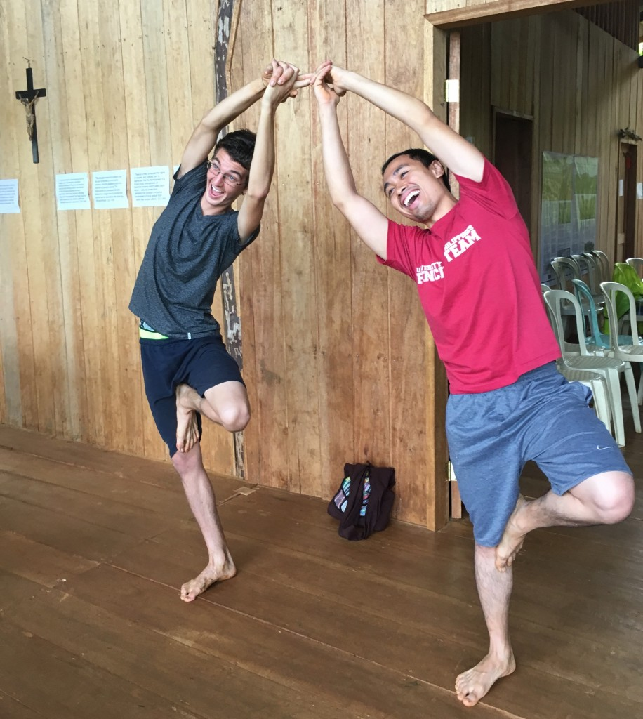 Yoga 101 with Luke (on the left) during the Living Laudato Si' workshop