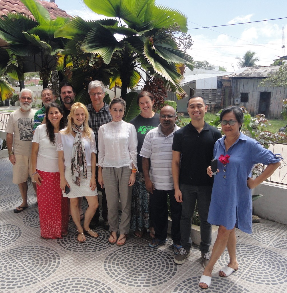 The Ecojesuit team in Leticia in Amazonas, Colombia: (front row, left to right) Cecilia Calvo (Senior Advisor on Environmental Justice, Office of Justice and Ecology, Jesuit Conference of Canada and the US), Maria Carla Bostiancic (Jesuit European Social Centre), Alicia Aleman Arrastio (Fundación Alboan-Justice in Mining), Xavier Jeyaray SJ (Director, Social Justice and Ecology Secretariat), Brex Arevalo (Ecojesuit networking support), Sylvia Miclat (Reconciliation with Creation Coordinator, Jesuit Conference Asia Pacific); (back row, left to right) Pedro Walpole SJ (Ecojesuit Global Coordinator), Alfredo Ferro Medina SJ (Coordinator, Servicio Jesuita Panamazonico de la CPAL), John Braverman SJ (Ecojesuit Working Group member and Associate Professor of Biology, Saint Joseph's University in Philadelphia, Pennsylvania, USA), Martin van Nierop (Managing Director, Gondwana Environmental Solutions that collaborates with Jesuit Conference of Africa and Madagascar), Sue Martin (Ecojesuit Working Group member and Sustainability Centre Coordinator, Saint Ignatius' College Riverview in Sydney, Australia)