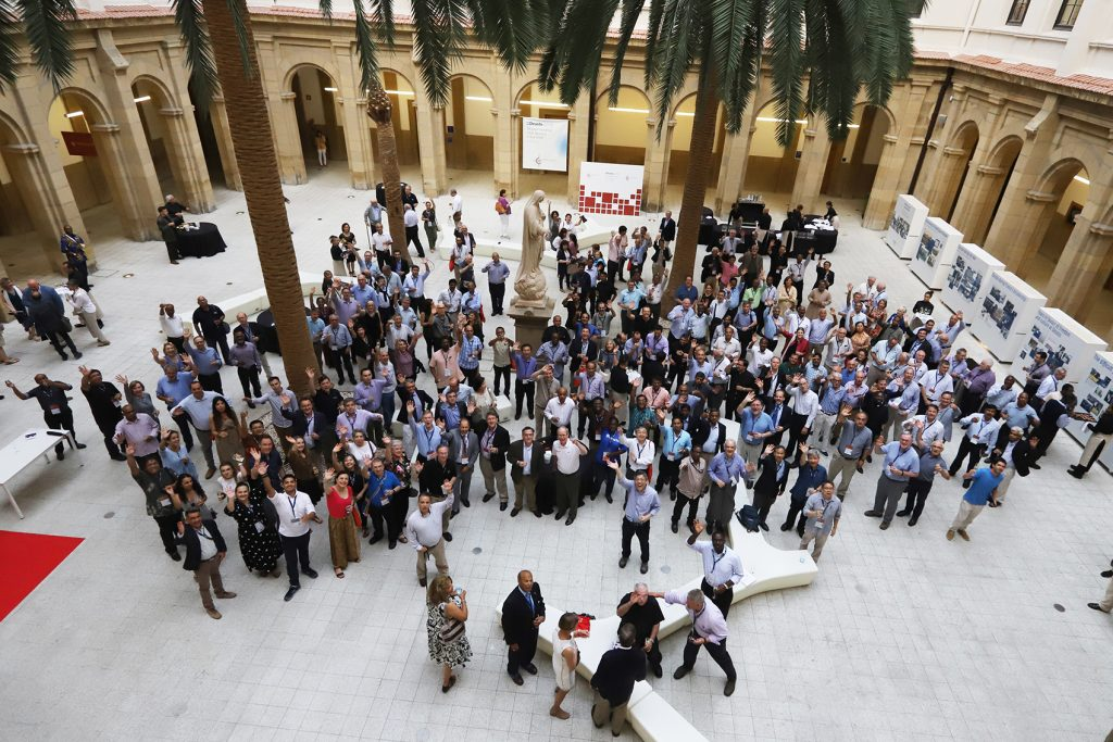 Participants to the 2018 Deusto World Assembly of Jesuit Universities in Bilbao, Spain gather on the final day