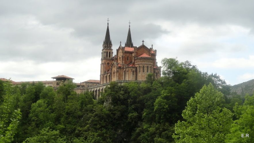 The Basilica of the Virgin of Covadonga in the municipality of Cangas de Onis in Asturias, northern Spain is a significant Marian shrine and situated at the Picos de Europa mountains.