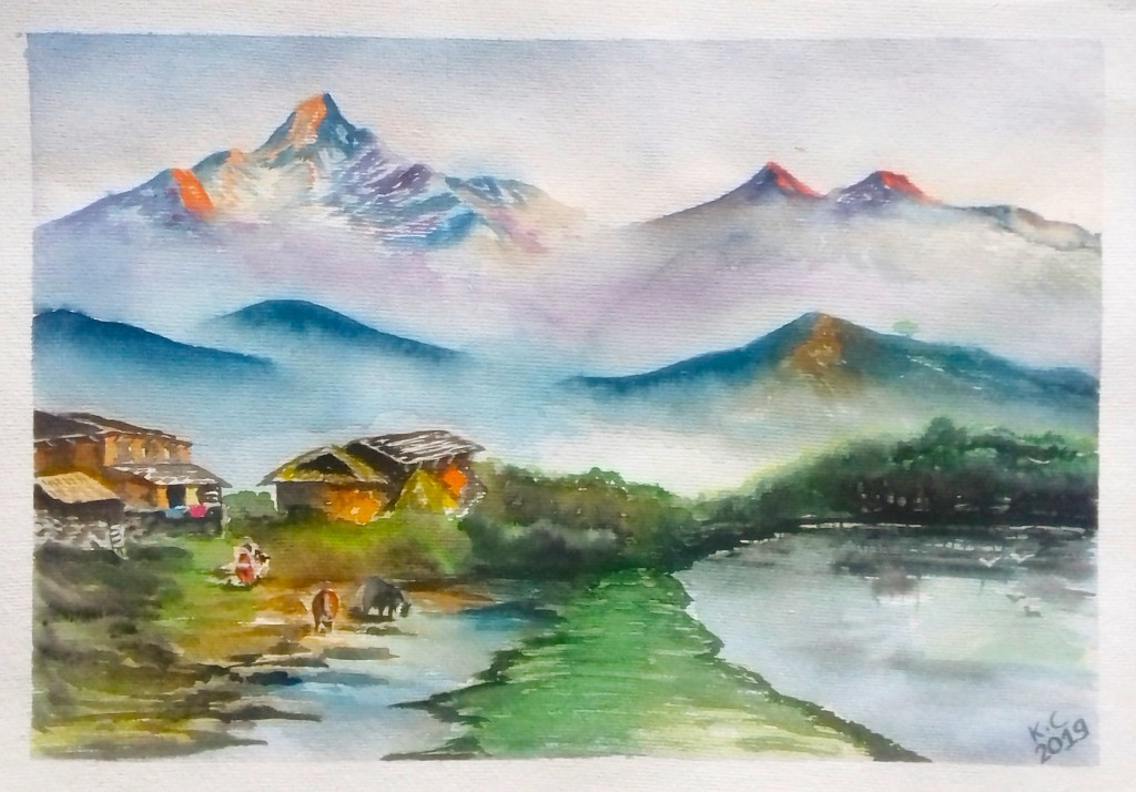 """Forests for peace and wellbeing, by Mr Kundan Chaudary from Nepal, Best Poster winner, APFW 2019: """"In my art, I tried to portray a small part of a village surrounded by forests. In rural Nepal, people depend on forests to fulfill basic needs like rearing animals, firewood, and timber. Women carrying fodder for animals depicts one positive impact of forests on people's livelihood through animal husbandry. Availability of gently flowing water in the river for animals to drink is a result of good forest management. Forests allow birds to peacefully enjoy the environment and the beauty of nature."""""""