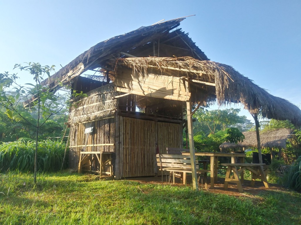 Pedro's hut with no walls in Bendum in Mindanao, Philippines.