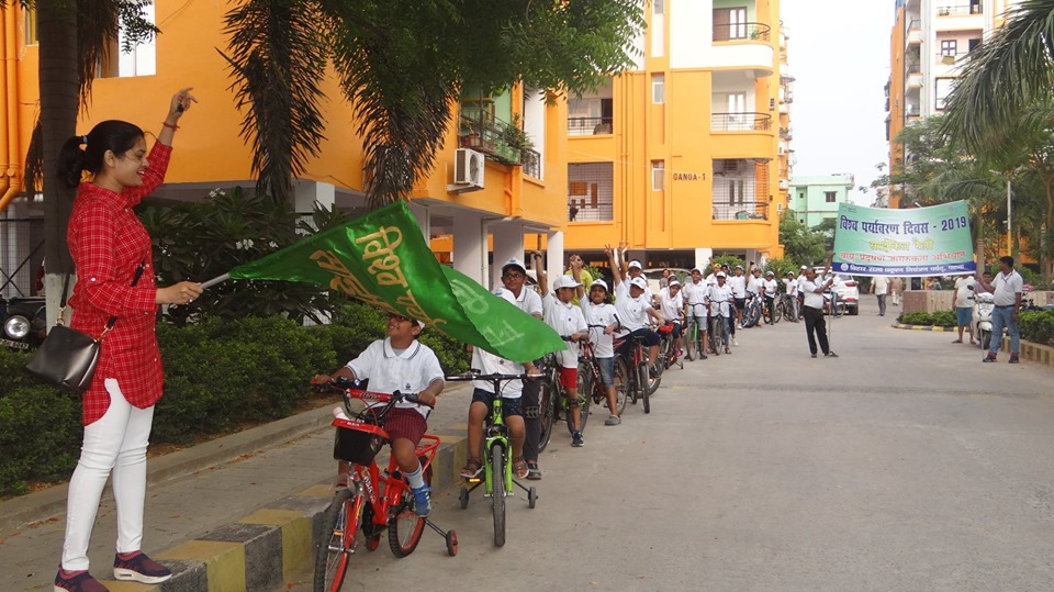 Cycle rally in Jalalpur, Patna during World Environment Day in June 2019 to promote concerns on air pollution and fuel conservation.