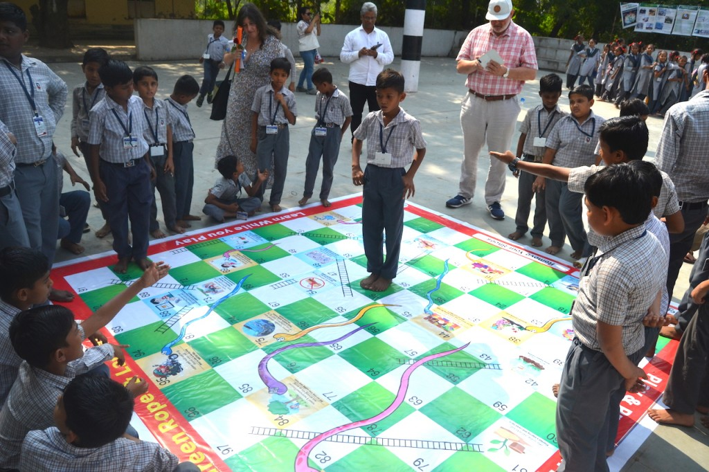 Ecological snakes and ladders game with students at Saint Xavier School Bharuch (Photo credit: R Javier)