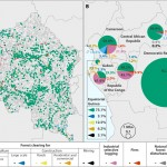 "Forest disturbance drivers illustrated as (A) reference disturbance driver for each sampled pixel, and (B) national estimates of 2000 to 2014 forest loss area by disturbance driver. (Source: Congo Basin forest loss dominated by increasing smallholder clearing [https://advances.sciencemag.org/content/4/11/eaat2993] by A Tyukavina et al, from Science Advances, 7 November 2018, Volume 4, No 11.) In this, regional assessment of forest disturbance dynamics from 2000 to 2014 in the Congo Basin countries using time-series satellite data, ""an estimated 84% of forest disturbance area in the region is due to small-scale, nonmechanized forest clearing for agriculture… (with) (s)elective logging as the second most significant disturbance driver…Maintaining natural forest cover in the Congo Basin into the future will be challenged by an expected fivefold population growth by 2100 and allocation of industrial timber harvesting and large-scale agricultural development inside remaining old-growth forests."