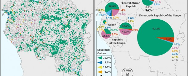 """Forest disturbance drivers illustrated as (A) reference disturbance driver for each sampled pixel, and (B) national estimates of 2000 to 2014 forest loss area by disturbance driver. (Source: Congo Basin forest loss dominated by increasing smallholder clearing [https://advances.sciencemag.org/content/4/11/eaat2993] by A Tyukavina et al, from Science Advances, 7 November 2018, Volume 4, No 11.) In this, regional assessment of forest disturbance dynamics from 2000 to 2014 in the Congo Basin countries using time-series satellite data, """"an estimated 84% of forest disturbance area in the region is due to small-scale, nonmechanized forest clearing for agriculture… (with) (s)elective logging as the second most significant disturbance driver…Maintaining natural forest cover in the Congo Basin into the future will be challenged by an expected fivefold population growth by 2100 and allocation of industrial timber harvesting and large-scale agricultural development inside remaining old-growth forests."""