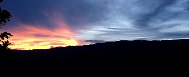 """Grace is the gift that is delivered by the divine breath as the words """"I love you"""" are spoken to the """"ordinary"""" just before we reconcile with the source of all inspiration, with ourselves, and with other wounded members of creation. (photo: S Miclat, dusk at Bendum, January 2018)"""