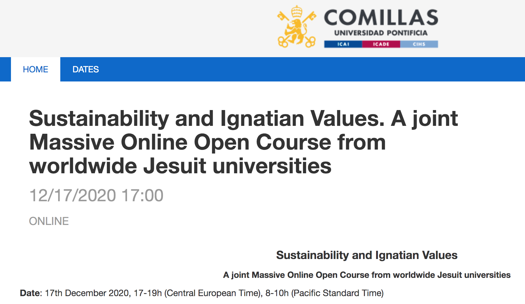Webinar on the proposed Massive Online Open Course on sustainability and Ignatian values for Jesuit universities