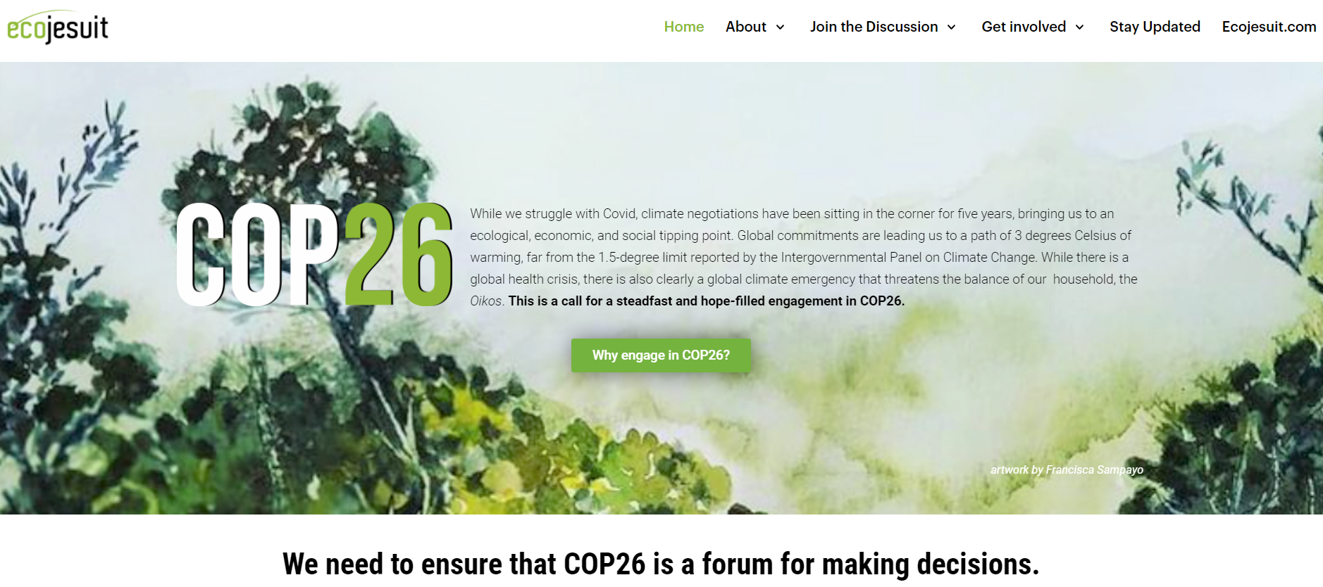 Ecojesuit@COP26 website: Seeking greater climate ambition and local-global collaboration
