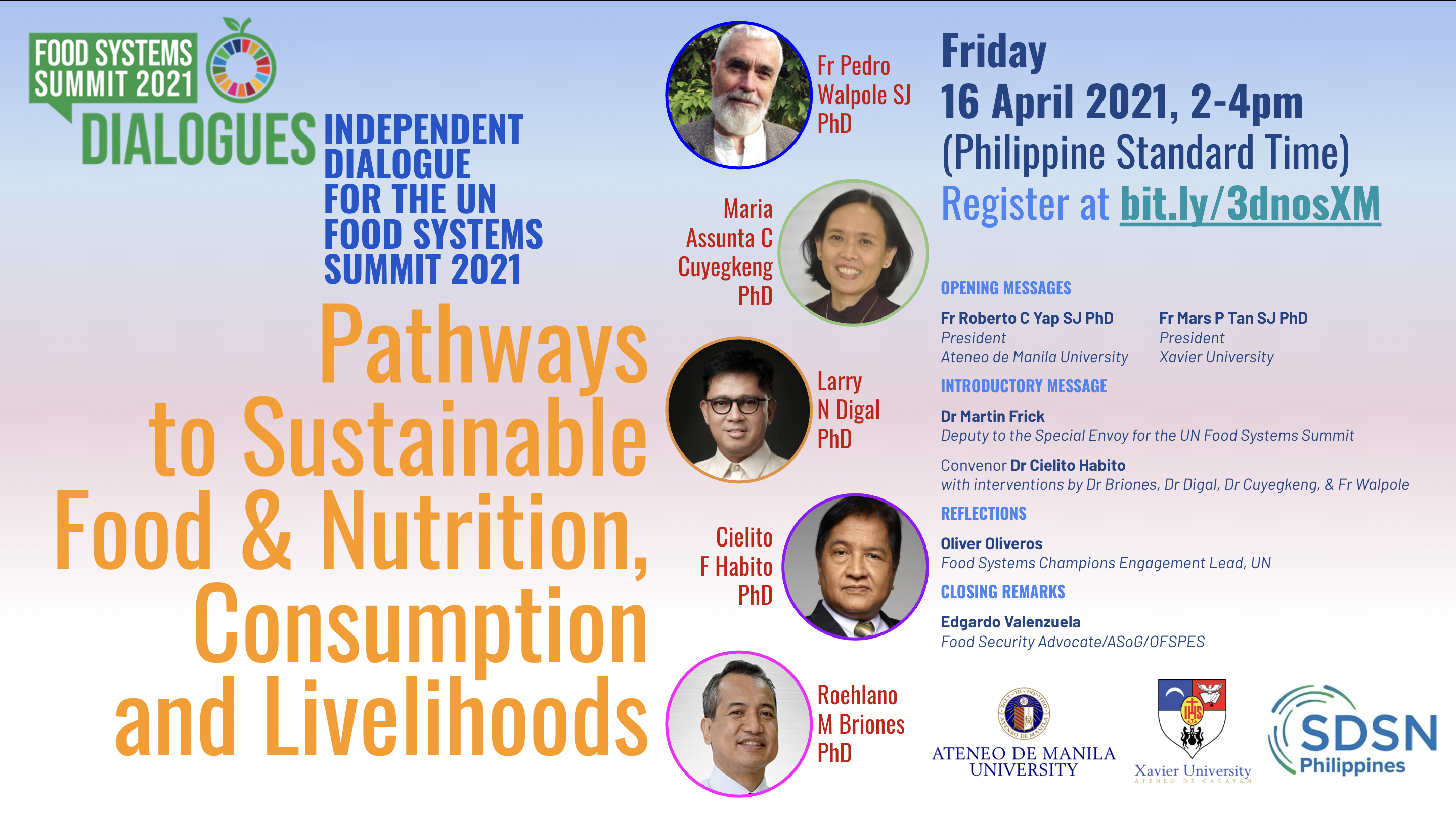 Exploring pathways to sustainable food and nutrition, consumption, and livelihoods: An independent dialogue for the UN Food Systems Summit 2021